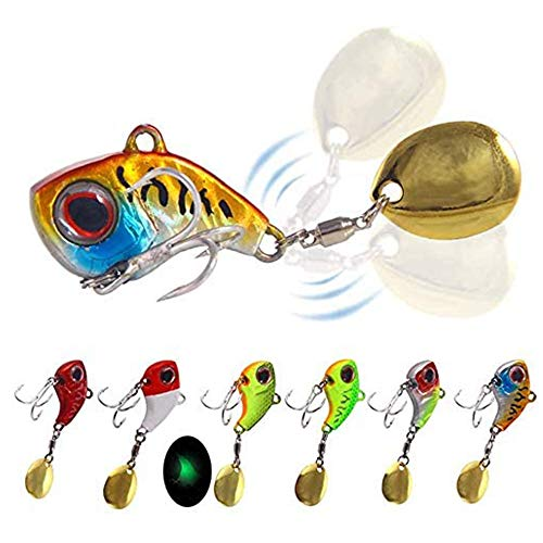 Plhzh 6 Piezas Juego,Cebo Spinner Cebo Artificial, Cuchara para Fregadero De Fundición, Cebo De Pesca, Trucha Anzuelo, Perca, Lucio.
