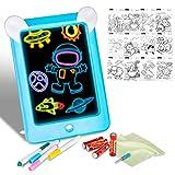 Xpassion Tablero de Dibujo Mágico, Tableta de Dibujo Pizarra 3D Mágico con Luces LED Educativo Infantil, Dibujo de Graffiti Colorido Luminoso para para Niños, Boceto y Arte, Azul