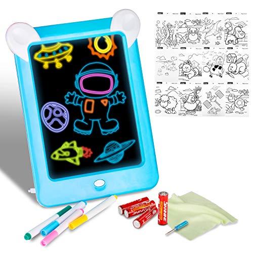 Xpassion Tavoletta LCD Scrittura 3D LED Luminoso Magic Drawing Pad Bambini, Fantastic Pads Tavoletta Lavagna Portatile da Disegno con Penna Display Colorato per Adulti