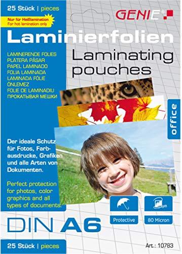 Genie 10783 Laminierfolien (glasklar, 80 Mikron, Formate bis zu DIN A6, geeignet für alle Heißlaminiergeräte) 25er Pack