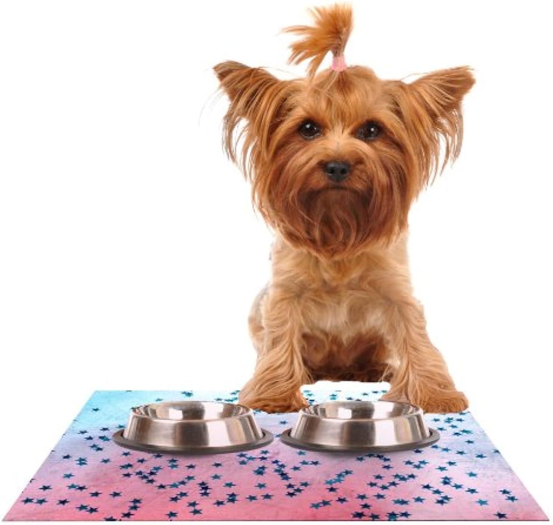KESS InHouse Iris Lehnhardt Stargazer  Red bluee Feeding Mat for Pet Bowl, 24 by 15Inch