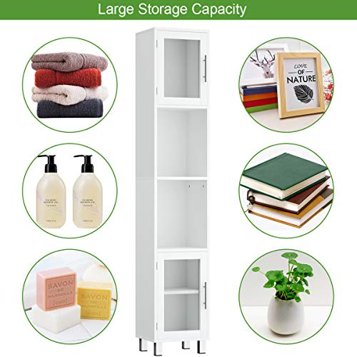 Tangkula Tall Bathroom Cabinet, Home Bedroom Living Room Wood Linen Storage Cabinet Free Standing w/Four Shelves and Two Glass-Paneled Doors Suitable Tall Bathroom Cabinet White (71