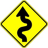 Curvy Road - 18 X 18 Warning Sign. A Real Sign. 10 Year 3M Warranty