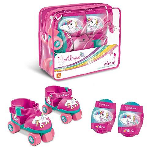Mondo-28511 Mondo Toys-Pattini a rotelle Regolabili Unicorn per Bambini-Taglia dal 22 al 29-Set Completo di Borsa Trasparente, gomitiere e Ginocchiere, 28511, Colore Rosa