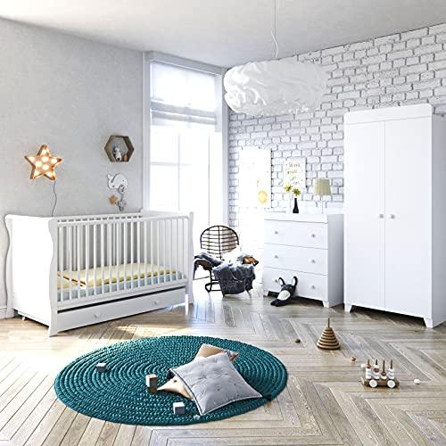 Little Acorns Sleigh Cot Bed 6 Piece Nursery Furniture Set With Deluxe 4inch Foam Mattress (Grey)