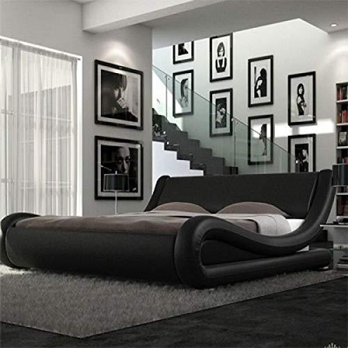 Italian Designer Mallorca Bed Frame and Memory Foam Mattress (4FT6-Double, Black)