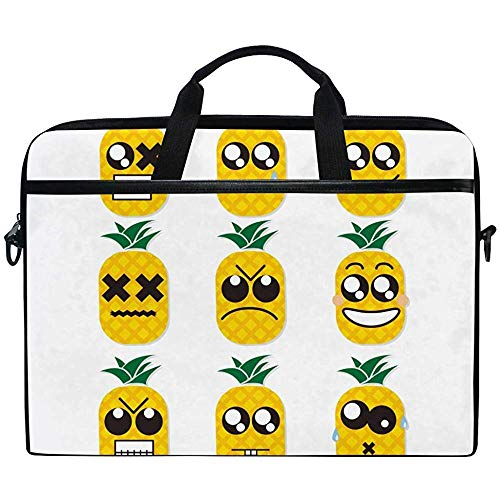 Laptop Sleeve Case,Funny Cute Emoji Pineapple Briefcase Messenger Notebook Computer Bag With Shoulder Strap Handle,14-14.5 Inch