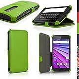 iGadgitz u4157Étui PU Cuir pour Motorola Moto G 3ème génération XT1540Livre Coque–Vert