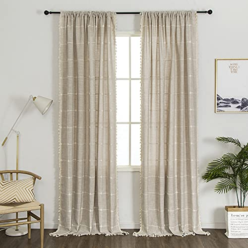 """1 Pair Cotton Linen Boho Curtains with Tassel, Semi-Blackout Farmhouse Curtains for Bedroom Living Room (Beige,2 x 54"""" x 96"""")"""