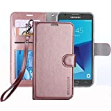 Galaxy J7 V 2017 / J7 Perx / J7 Sky Pro / J7 Prime/Galaxy Halo Case, ERAGLOW Luxury PU Leather Wallet Flip Protective Case Cover with Card Slots and Stand for Samsung Galaxy J7 2017 (Rose Gold)