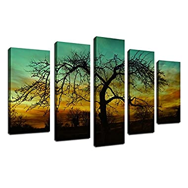 yearainn Canvas Wall Art Sunset Nature Painting Tree Branches Night View Picture Prints Framed Ready to Hang - 5 Pieces Canvas Art Landscape Pictures Modern Artwork for Home Decoration