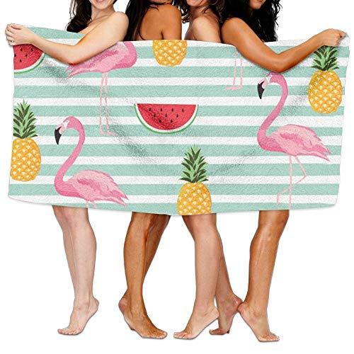 Goodshope Gestreepte Ananas Watermeloen Flamingo Beach Handdoeken Polyester Snelle Droge Zachte Badlakens, Zomer Koele Zwembad Grote Badhanddoeken Voor Yoga Mat Beach Cover Deken 31.5