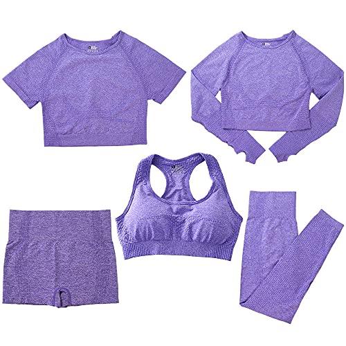 qqff Ropa Culturismo Ajustada para Nadar,Fitness Yoga Wear,Conjunto Deportivo Cinco Piezas Correr Mujer,púrpura,Mallas Voleibol Playa