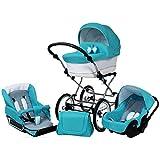 Cochecito bebé 3 piezas: capazo, silla, silla de coche, accesorios. BBtwin Candy. (azul)