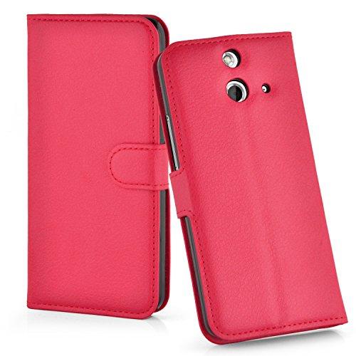 Cadorabo Hülle für HTC ONE E8 - Hülle in Karmin ROT – Handyhülle mit Kartenfach & Standfunktion - Case Cover Schutzhülle Etui Tasche Book Klapp Style
