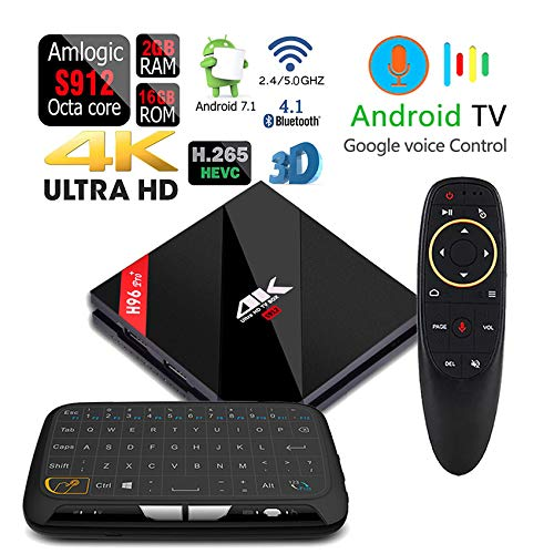Apes H96 Pro+ Voice Control 16GB/2GB Android 7.1 Octa Core 1080p 4K 3D Amlogic S912 Dual WiFi 5G Bluetooth 4.1 TV Box + Touchpad Wireless Keyboard Remote