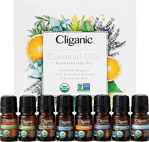 Cliganic USDA Organic Aromatherapy Essential Oils Set Top 8 100% Pure Natural  Peppermint Lavender Eucalyptus Tea Tree Lemongrass Rosemary Frankincense amp Orange | Cliganic 90 Days Warranty