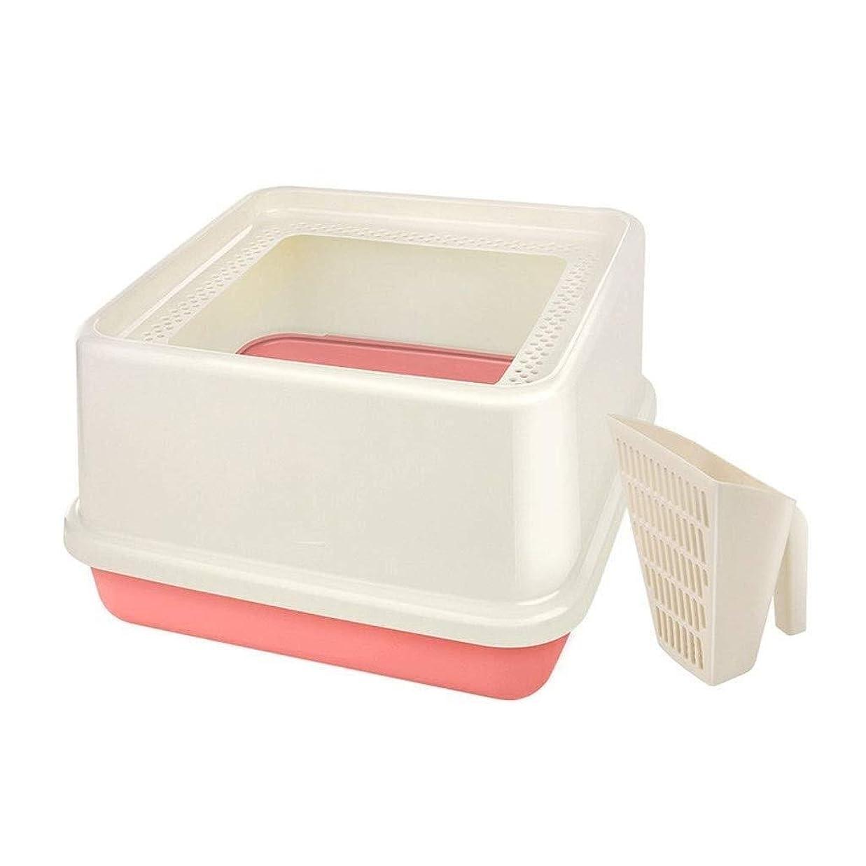 モードリン妖精情熱LT 猫用トイレボックスコーナーゴミ箱トレイ耐久性のあるイノベーションがスペースを提供 (Color : Pink)
