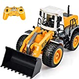 DOUBLE E RC Loader Bulldozer 8 Channel 2.4Ghz Hydraulic Construction Vehicles 1:20 with LED Lights Sounds Remote Control Toys for Boys Girls Kids