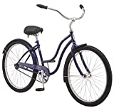 Schwinn Mikko Adult Beach Cruiser Bike, Featuring 17-Inch/Medium Steel Step-Over Frames, 1-Speed Drivetrains, Purple