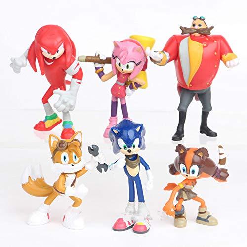 FENGHE Sonic Figures Juguete 6pcs/Set Sonic Boom Tails Sticks Werehog Amy Rose PVC Figuras De Acción Dr. Eggman Knuckles Anime Figuras Muñecas Niños Juguetes para Niños
