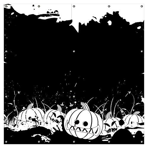 Wallario XXL Garten-Poster Outdoor-Poster - Halloween - Kürbisse und Fledermäuse in schwarz-weiß, Comic Stil in Premiumqualität, für den Außeneinsatz geeignet