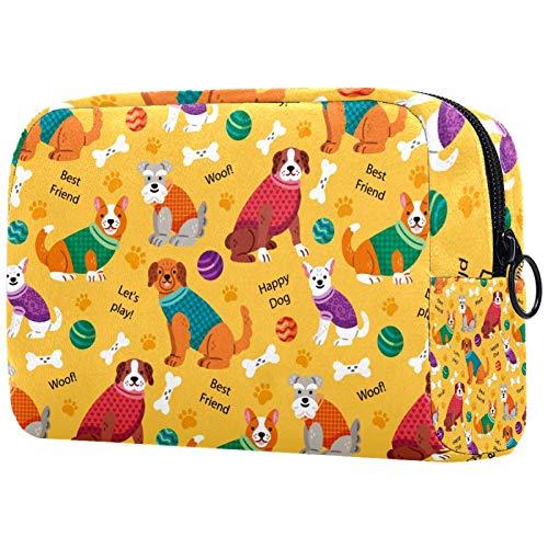 Bolsa de brochas de maquillaje personalizable, portátil, para mujer, bolso de mano, organizador de viaje, organizador de viaje, perro Corgi, perro carlino lindo, bola con estampado de huesos