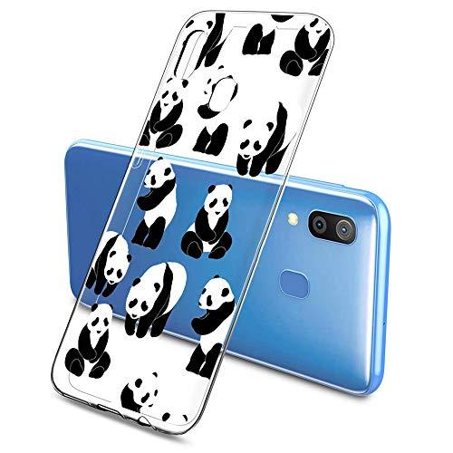Suhctup Silicone Custodia per Samsung Galaxy J1 / J1 2015, Ultra Sottile Anti-Graffio Flexible Bumper Cover, Trasparente Morbido Silicone Antiurto Protettivo TPU Gel Case - Panda