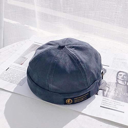 WEIZI Harajuku Retro Cord Docker Sailor Biker Cap Marke Krempe Skullcap Männer und Trend Hip-Hop Hut Herbst und warm halten Hut, Navy, M.