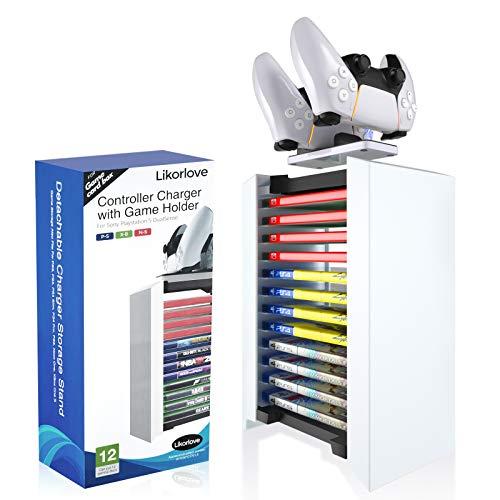 Likorlove Torre de Almacenamiento de Juegos y Cargador de Mando 2 en 1 para Playstation 5 Soporte de CD DVD Estantería Baldas Flotantes para PS4, Xbox One, N-Switch, 28 x 22 x 9 cm Blanco