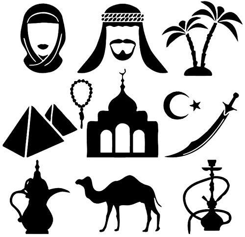 Pegatinas de pared calcomanías de arte DIY características indias cachimba árabe espada pegatinas camello sala de estar 57x56 cm