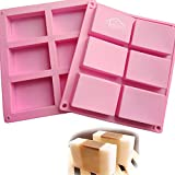 CHICHIC 2 Pack 6 Cavities Silicone Soap Mold, 6 Cavity DIY Soap Molds, Rectangle Baking Mold Cake Pan Biscuit...