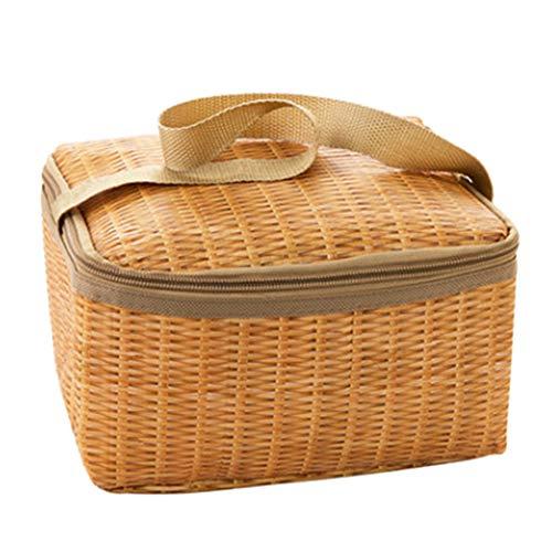 Steellwingsf Multifunktionale Picknick-Isolationstasche, Tragbare Isolierte Wärmekühlbox Lunch Bag Imitation Rattan Outdoors Picknick-Box KhakiNone