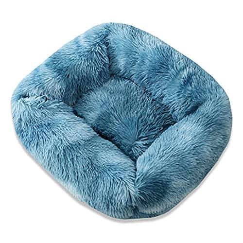 PPCERY Cuadrado Super Soft Dog Bed Cave Felpa Cat Mat Mat Cama para Perros Grandes Perrito Cama Casa Nido Cojín Accesorios de Productos para Mascotas (Color : Colorful Blue, Size : 66x56x18cm)