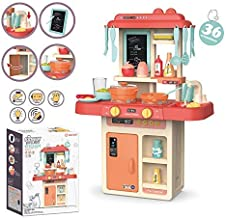 ARHA IINTERNATIONAL Kitchen Playset, Kids Play Kitchen with Realistic Lights & Sounds,Simulation of Spray, Play Sink with Running Water,Dessert Shelf Toy & Kitchen Accessories Set for 4 Year Old Girls