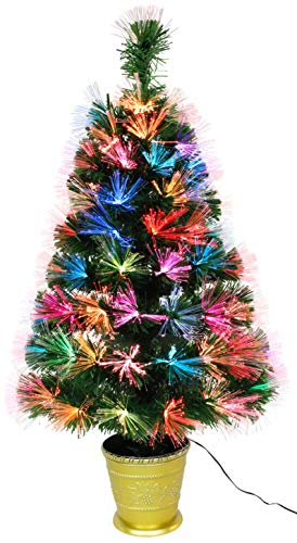 Christmas Concepts 3ft (36 Inch/90cm) Green Prelit Fibre Optic Tree - Christmas Trees (Colour Changing LEDs)