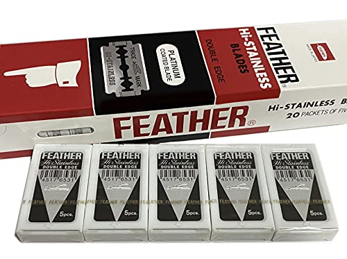 100 Feather Double Edge Blades (Black Label) Hi Stainless - (100 count) for Safety Razors   Made in Japan