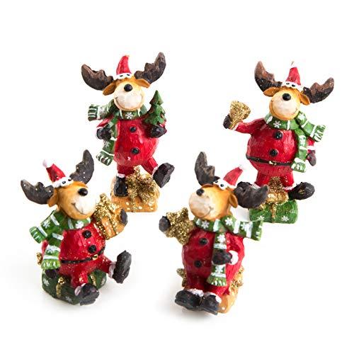 Logbuch-Verlag - Juego de 4 Figuras navideñas de Reno (8 cm), Color Rojo, Dorado y marrón