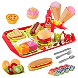 D-FantiX Play Food Set, 48Pcs Kids Play Fast Food Toys Fake Food Playset Kitchen Accessories Pretend Restaurant with Hamburger Sandwich Hotdog French Fries Cutting Fruits Tray for Toddlers Boys Girls