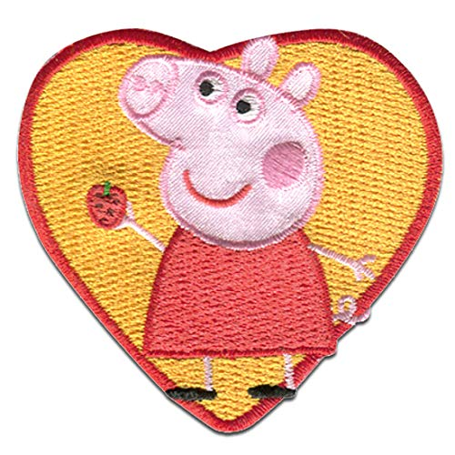 Parches - Peppa Pig 'Corazon' - amarillo - 6,5 x 6,3 cm - Entertainment One © termoadhesivos bordados aplique para ropa