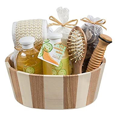 Wooden Massage and Reflexology Kit for Women: At-Home Spa Kit for All-Over Body Relaxation and Rejuvenation with Fresh Cucumber Melon Aromatherapy