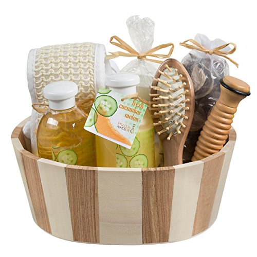 Wooden Massage and Reflexology Kit for Women, At-Home Spa Kit for All-Over Body Relaxation and Rejuvenation with Fresh Cucumber Melon Aromatherapy Bath and Body Set