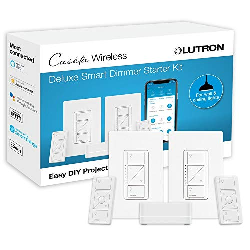 Lutron P-BDG-PKG2W-A Wireless Deluxe Dimmer Bridge Caseta Smart Start Kit, White, 2 Count