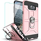Note 5 Case Galaxy Note 5 Case with HD Screen Protector YmhxcY 360 Degree Rotating Ring Kickstand Holder Dual Layers of Shockproof Phone Case for Samsung Galaxy Note 5-ZS Rose Gold