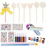 BeYumi 30 Pcs Make Your Own Princess Wand DIY Art Craft Kits – 7 Wooden Wands, 6 Glitter Glues Pens, 5 Ribbons, 4 Gem Stickers, 6 Paints, 2 Paint Brushes, Princess Gifts Party Favors for Kids Girls