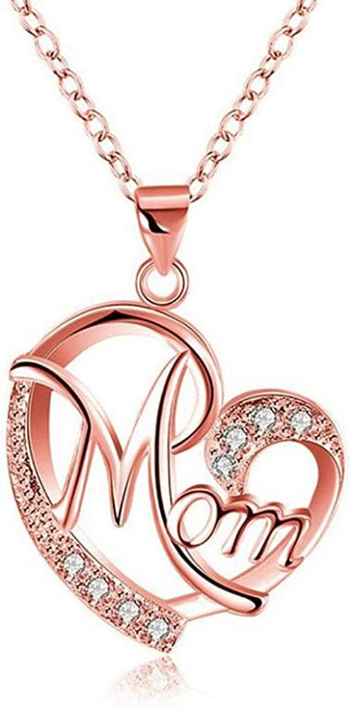 Coloura Mom Necklace,Letter MOM Heart Shape Pendant Necklace Gold Plated Copper Alloy with Cubic Zirconia Charm Necklace Chain Fashion Jewelry Birthday Gift for Mom Women