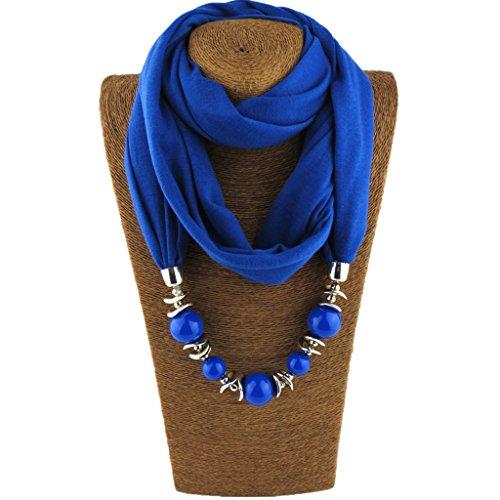 Cuigu Damen Schal Halsketten, einfarbig Schal Retro Perlen Halstuch mit Schmuck (Royalblau)