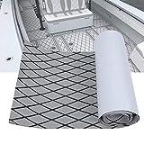 LUBEMIDA EVA Boat Flooring Carpet with Cross Groove Marine Teak decking Sheet for Yacht,74.8'×27.5' Self Adhesive (Light Grey +Black Cross)