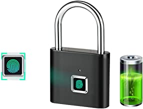 Fingerprint Padlock,Saibit Security Keyless Lock with APP Control and Bluetooth Connection for House Door, Backpack, Suitcase, Bike (Black)