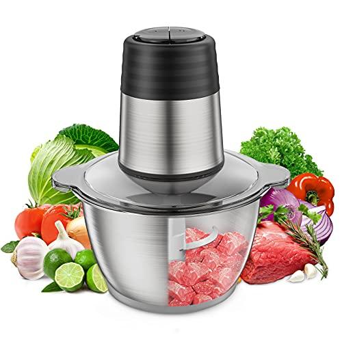 Electric Food Chopper, 2L 8-Cup Stainless Steel Bowl Kitchen Mini Food Processor for Meat Vegetables Fruits or Nuts, 350W 4 bi-level Blades Meat Grinder Blender, Fast & Slow 2 Speeds